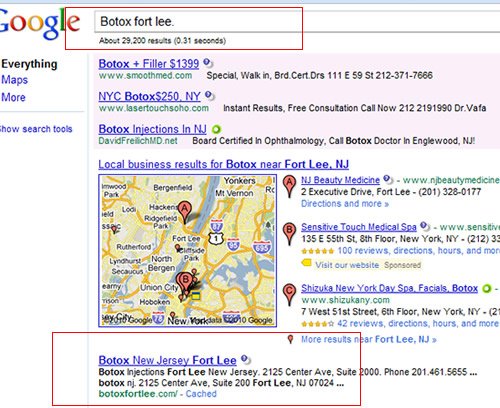 Botox Fort Lee Google July 2010