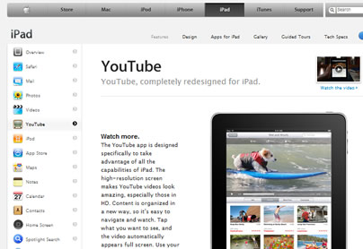 Youtube on Ipad Apple  applet programming 