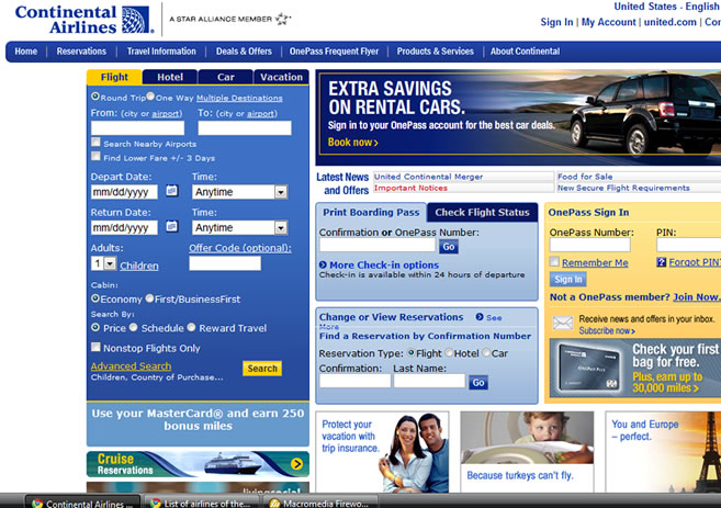 Continental airlines WEBPAGE