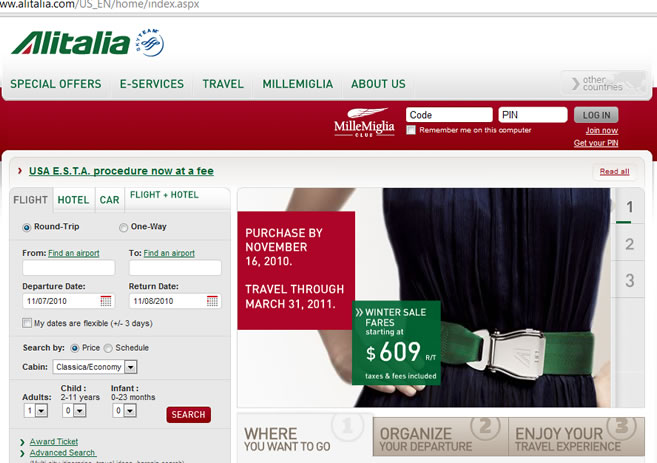 Italy Airlines WEBPAGE