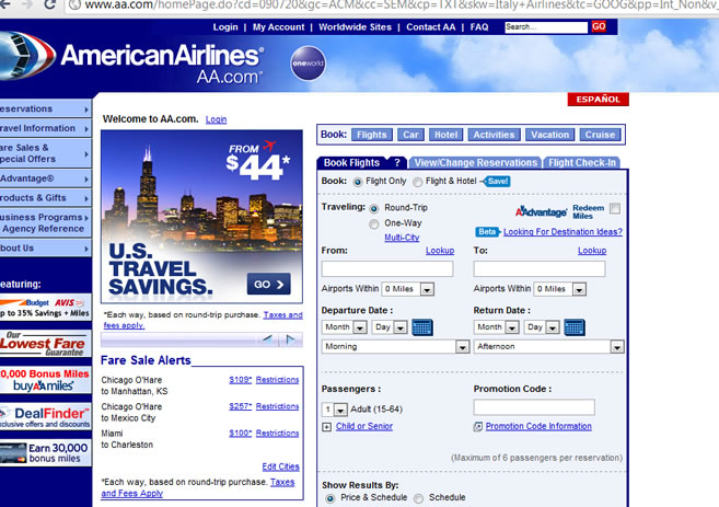 AMERICAN AIRLINES WEBPAGE