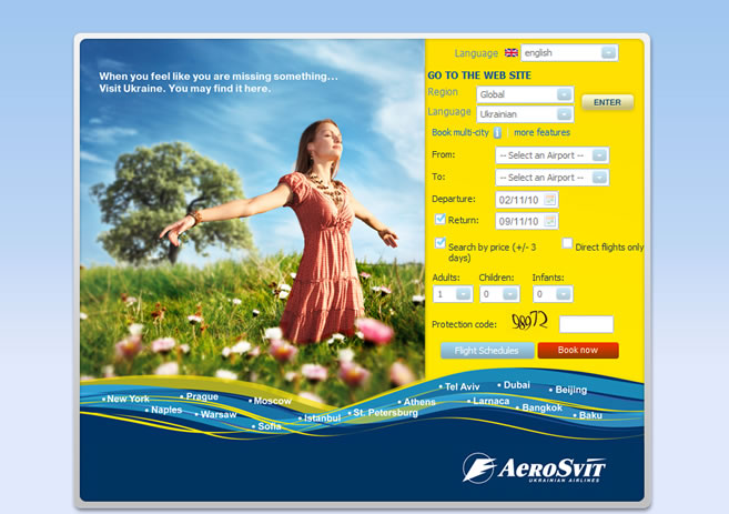 Aerosvit airlines WEBPAGE