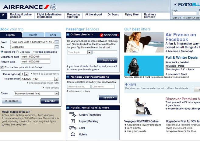 airfrance WEBPAGE
