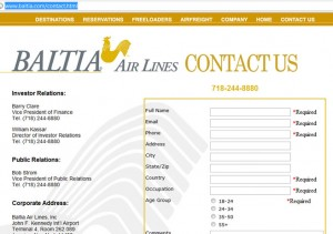 Baltia airlines WEBPAGE