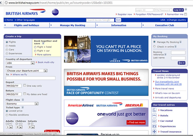 British Airlines WEBPAGE