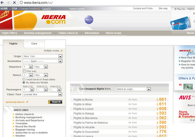 Spain AIRLINES  WEBPAGE