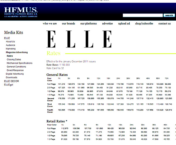 Elle magazine price rate 2011