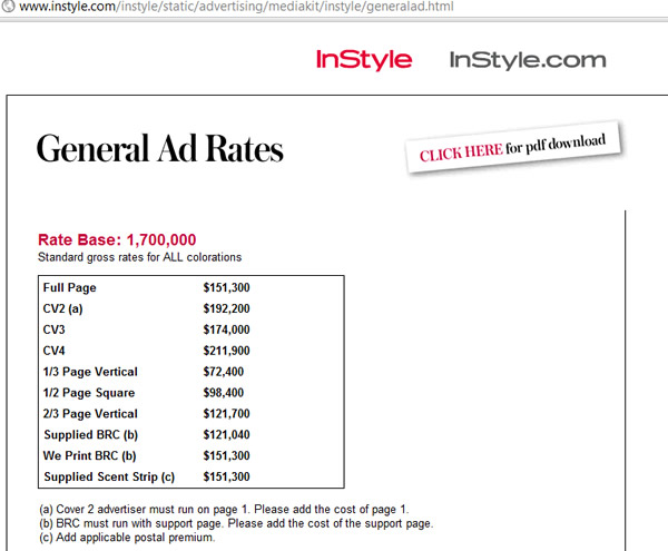 instyle magazine price rate 2011