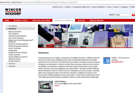 wincor-nixdorf.com website