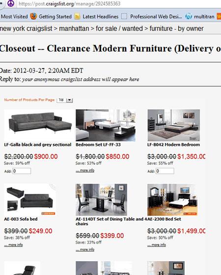 Modern Furniture Craiglist Laflat NY 2012