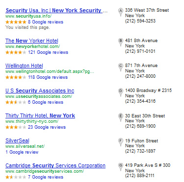 New York security guard Google Promotion List