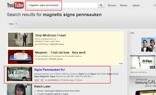 Magnetic signs pennsauken First Paje Youtube Promotion NJ