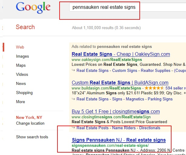 Pennsauken real estate signs Google First Page Promotion 11 June 2012-