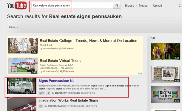 Real estate signs Pennsauken First Youtube Promotion