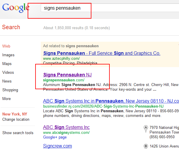 Signs Google First Page Promotion 11 June 2012
