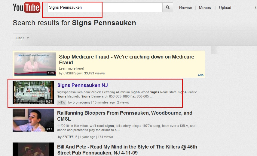 Signs Pennsauken First Youtube Promotion