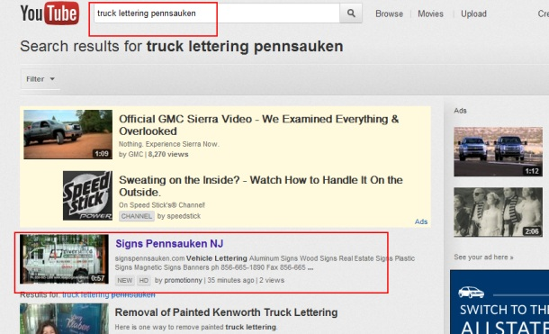 truck lettering Pennsauken First Page Youtube Promotion