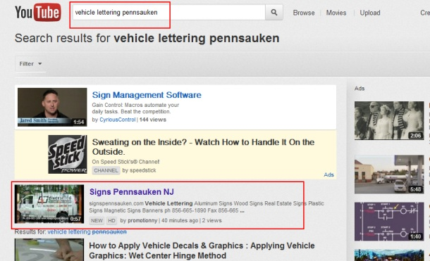 vehicle lettering Pennsauken First Page Youtube Promotion