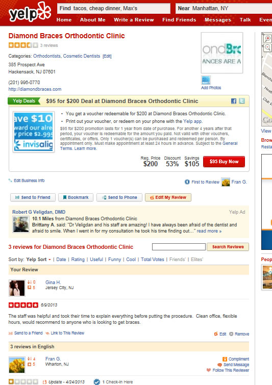 PromotionNY diamondbraces 3rd Yelp Social Network