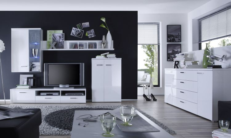 Modern Italian Wall Unit VA-Giro 7089 White